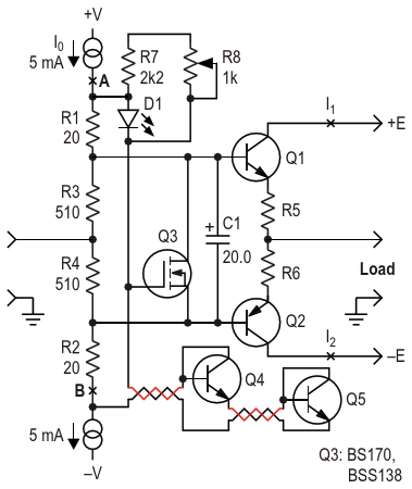 This circuit protects the expensive output transistors and the load from a large uncontrollable through current