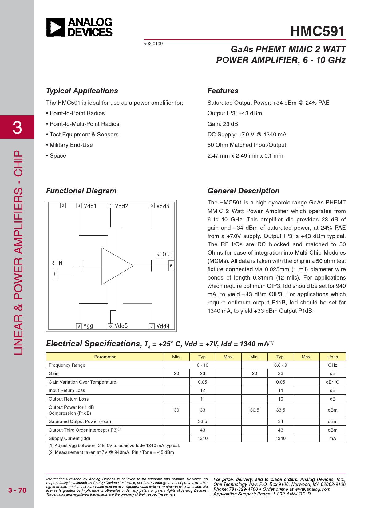 Datasheet HMC591-Die Analog Devices