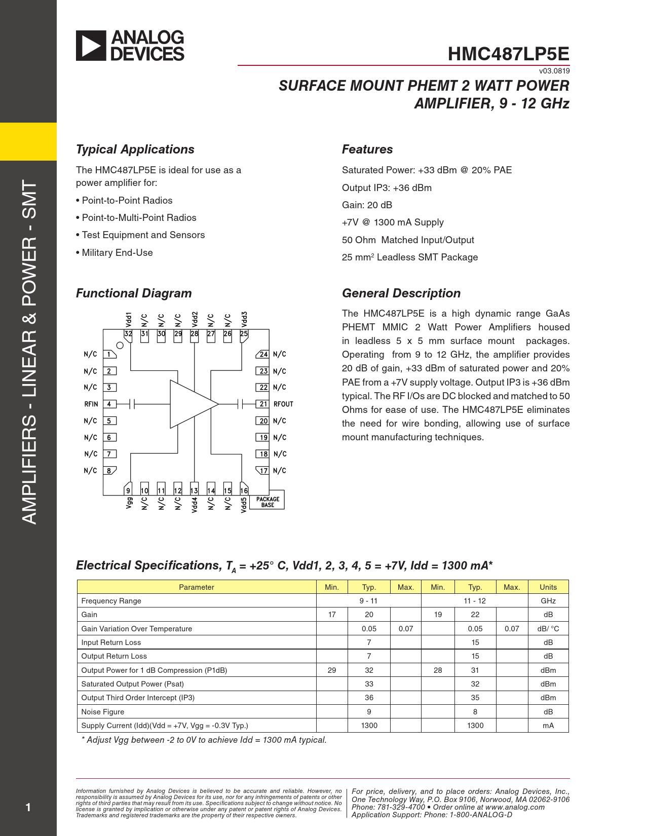 Datasheet HMC487 Analog Devices