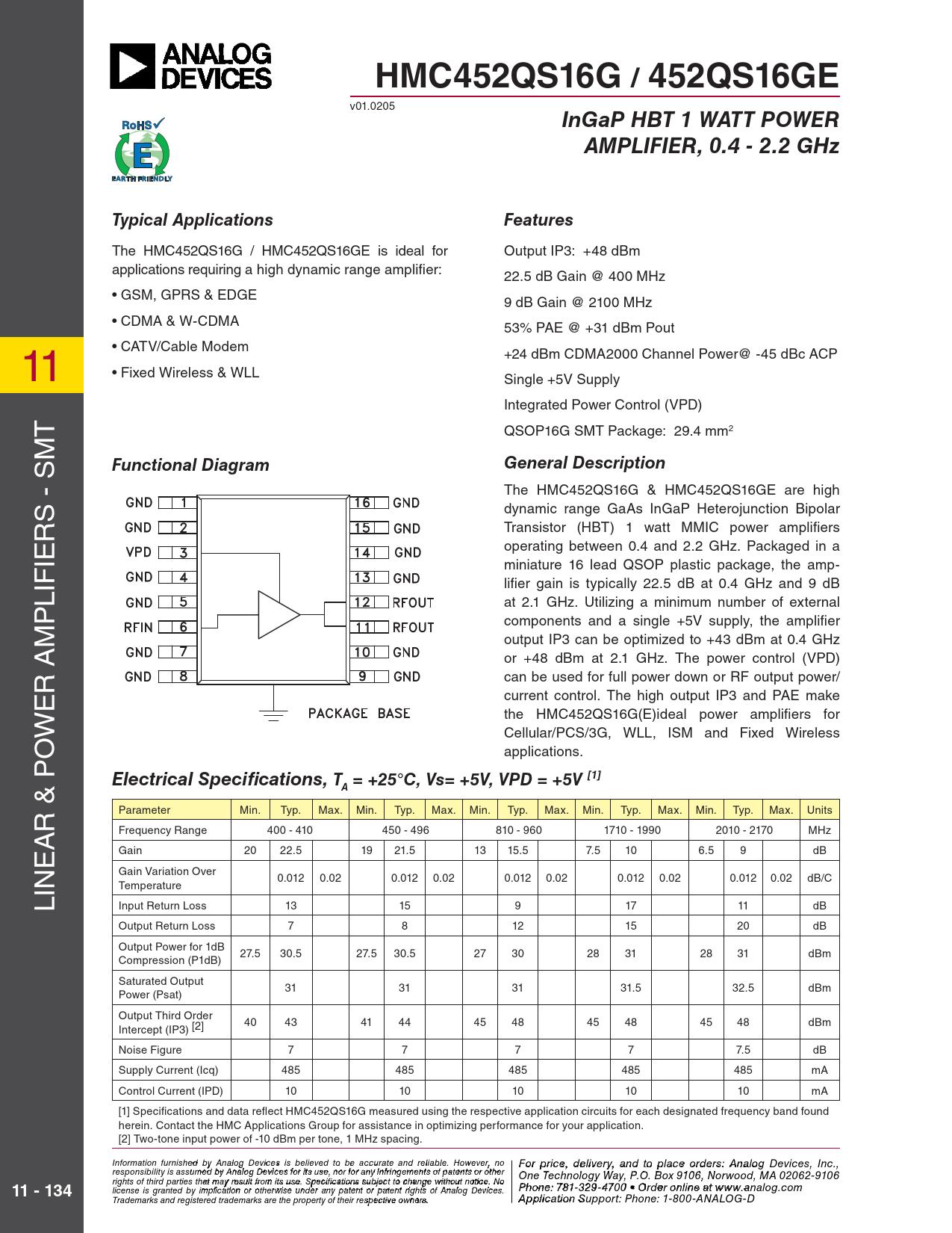 Datasheet HMC452QS16G Analog Devices