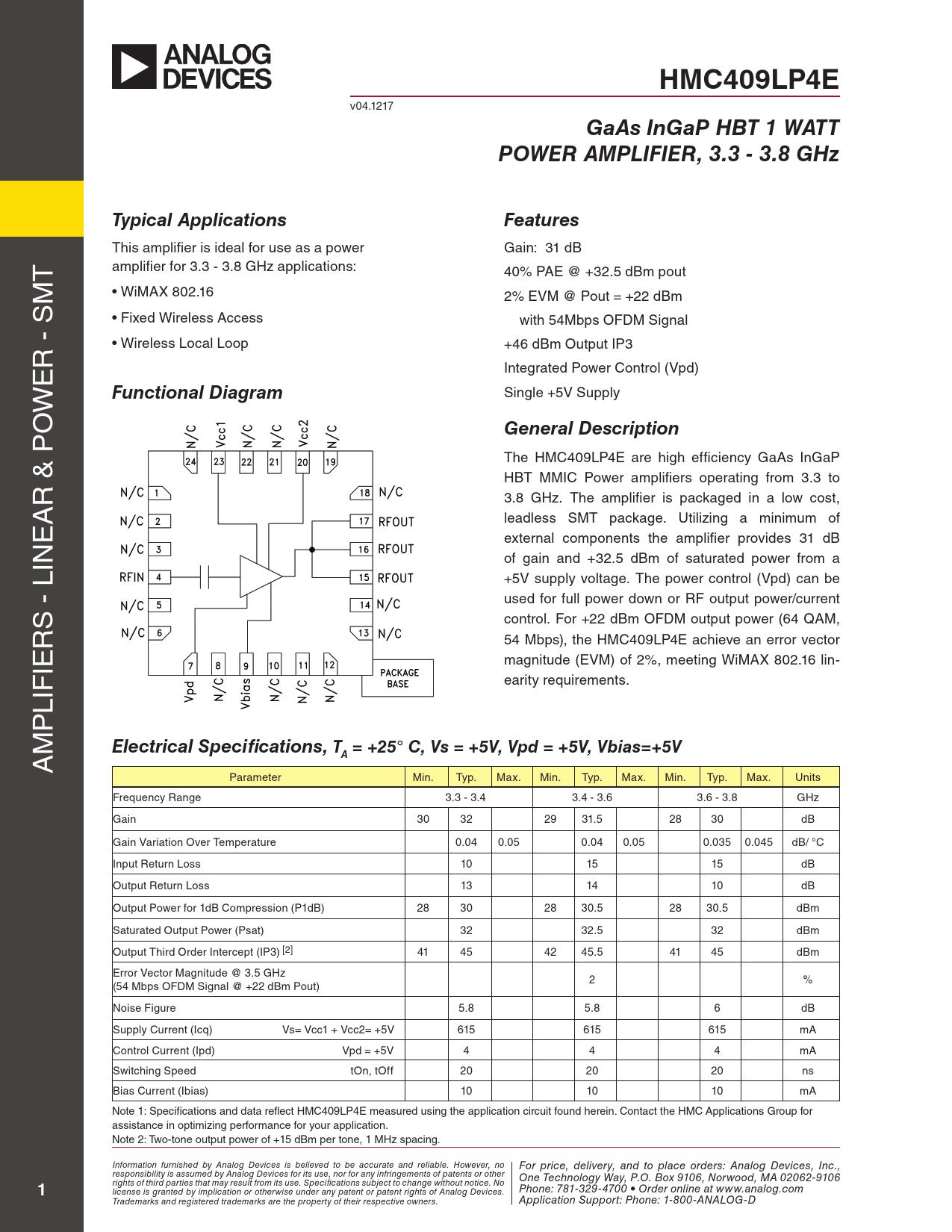 Datasheet HMC409 Analog Devices
