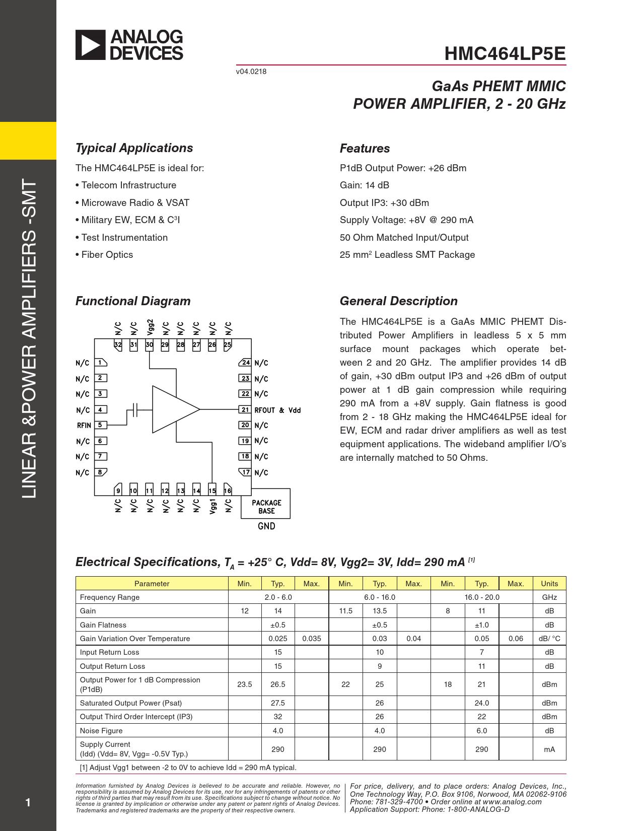 Datasheet HMC464LP5 Analog Devices