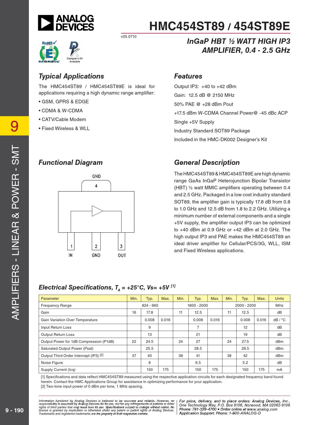 Datasheet HMC454 Analog Devices