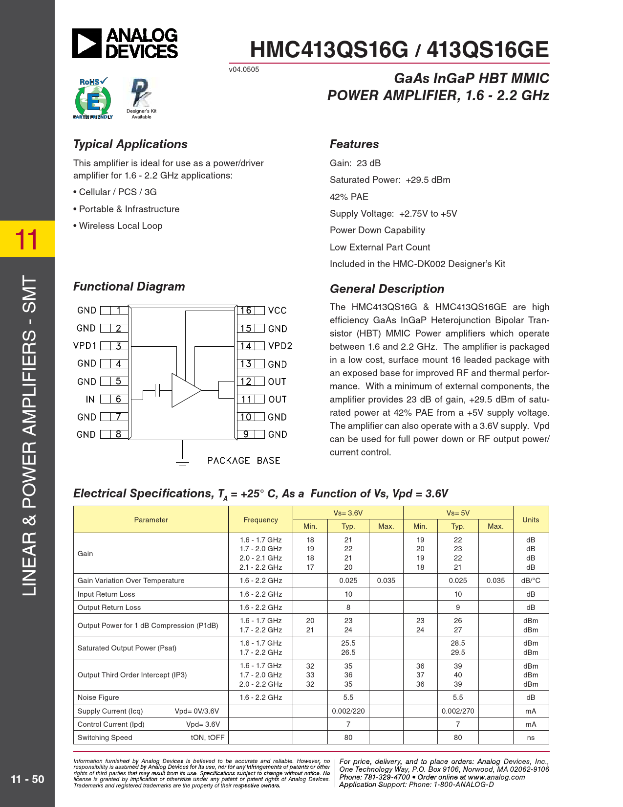 Datasheet HMC413 Analog Devices