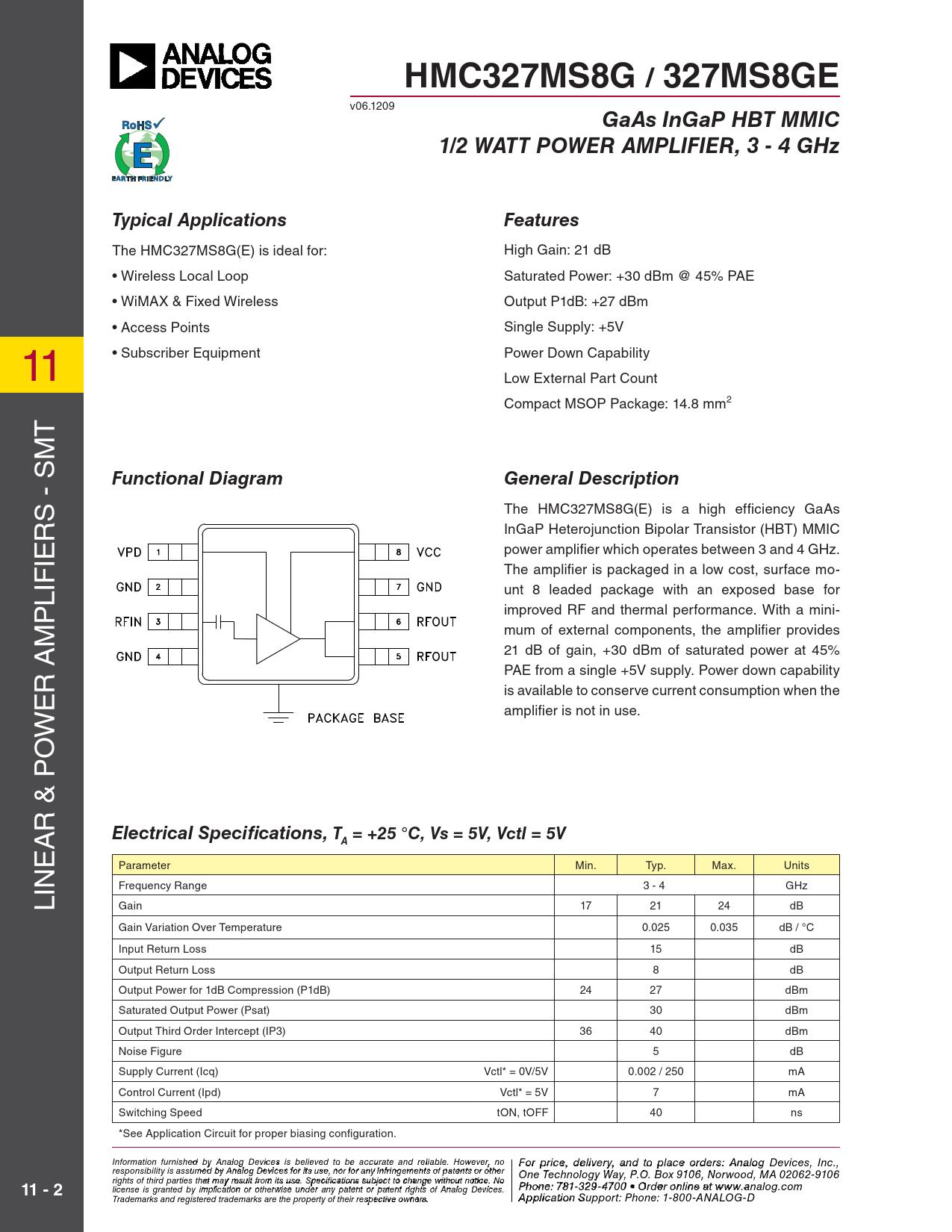 Datasheet HMC327 Analog Devices
