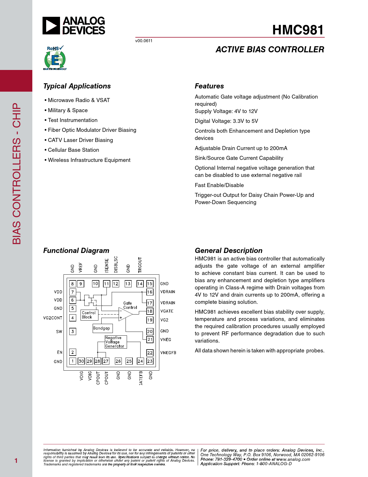 Datasheet HMC981-Die Analog Devices