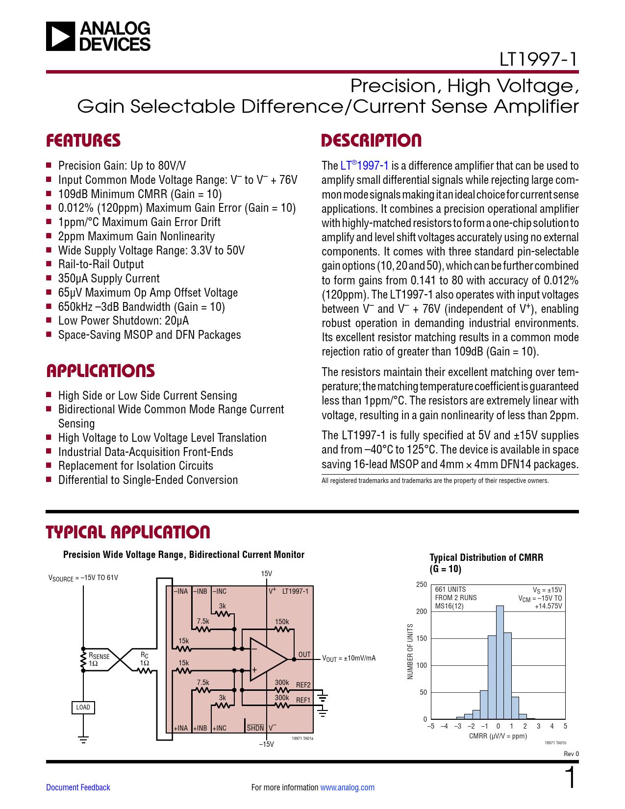 Datasheet LT1997-1 Analog Devices