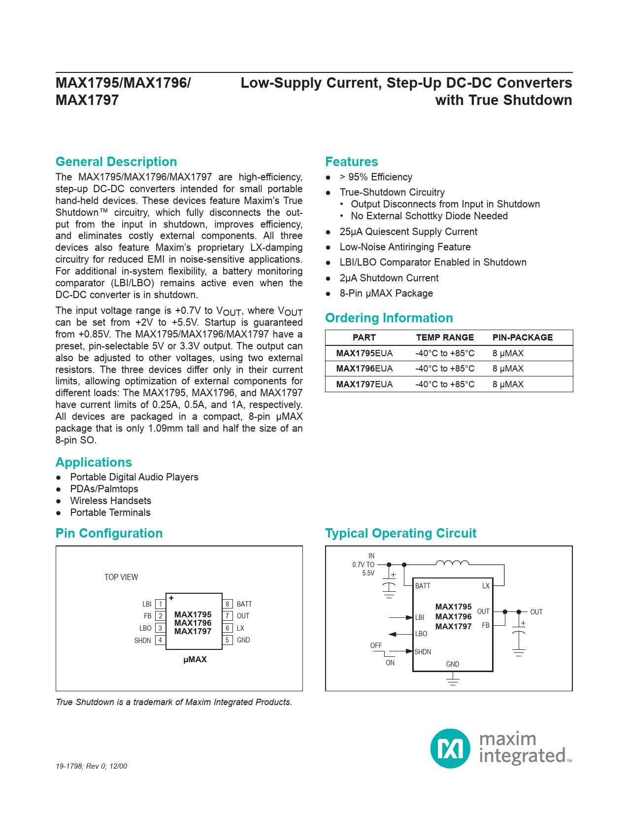 Datasheet MAX1797 Maxim