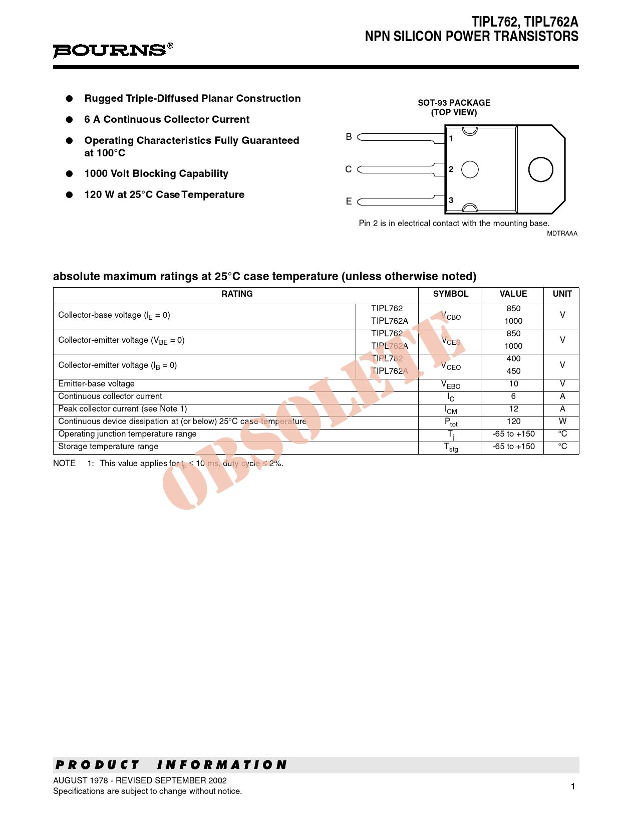 Datasheet TIPL762 Bourns
