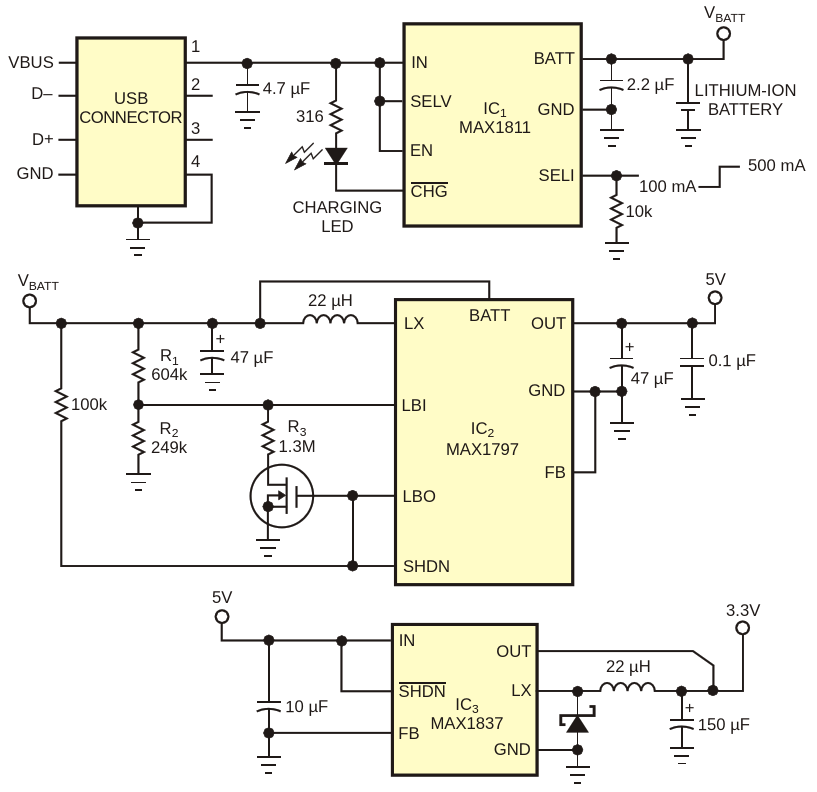 Drawing power from a USB port, this circuit generates 5 and 3.3 V supplyvoltages forportable applications