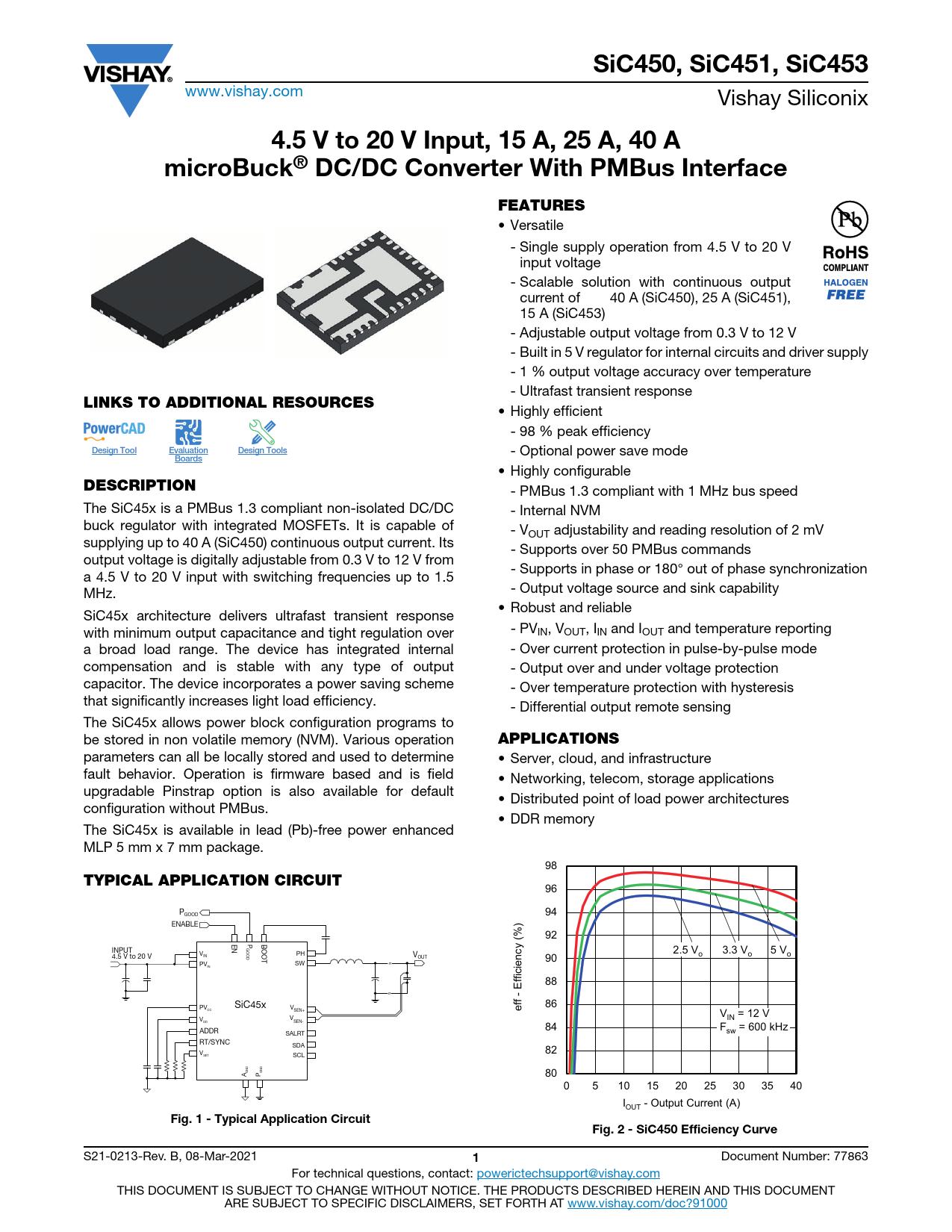 Datasheet SiC450 Vishay