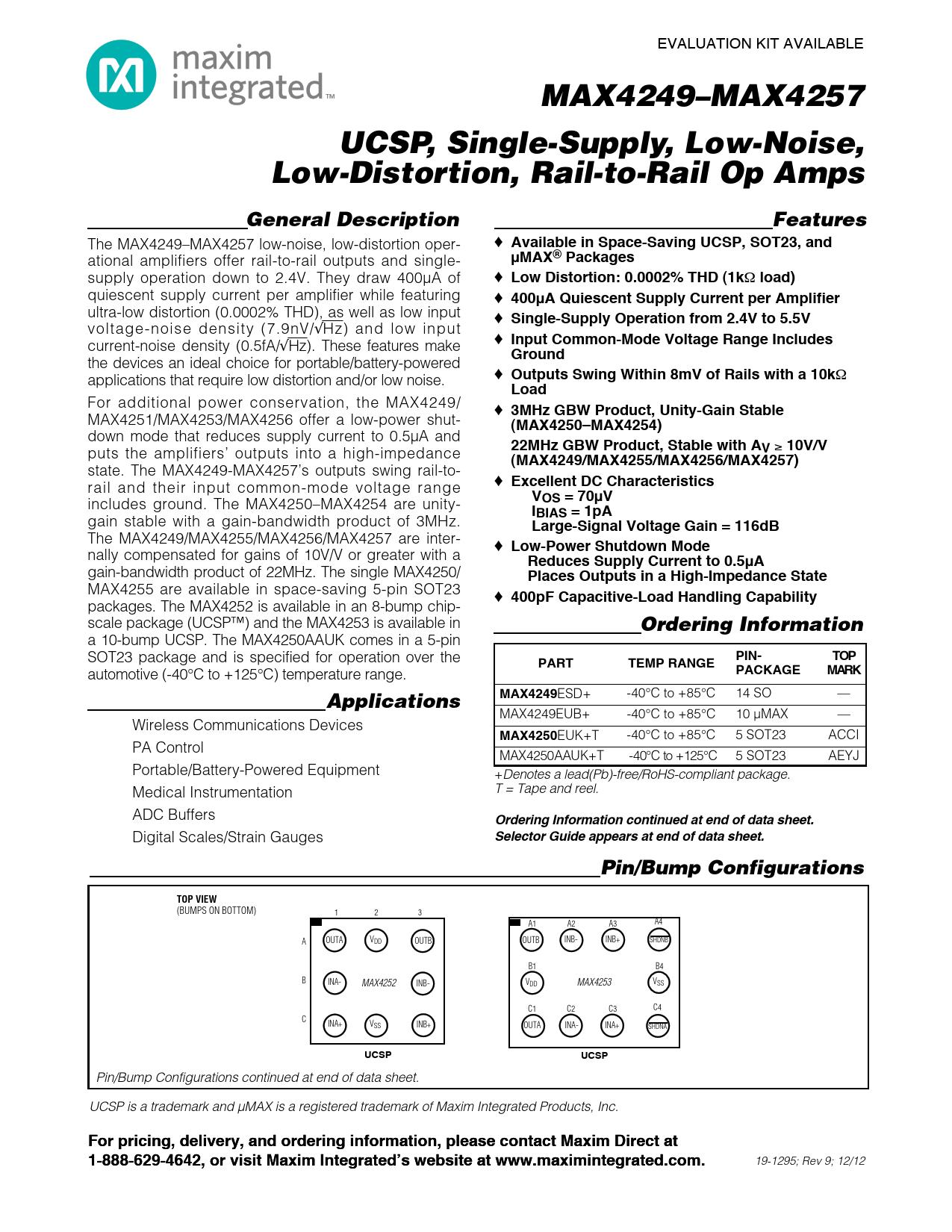 Datasheet MAX4250 Maxim