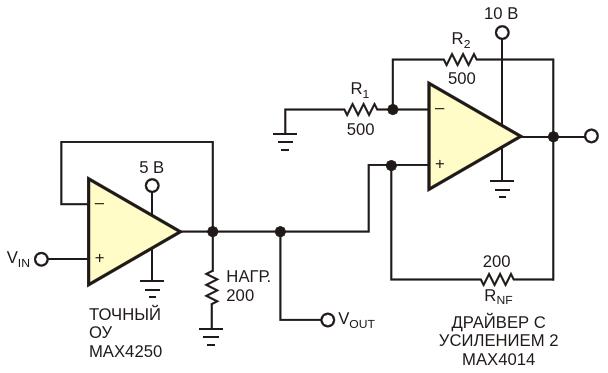 Подключение отрицательного сопротивления параллельно нагрузке позволяет прецизионному операционному усилителю работать с низкоомными нагрузками