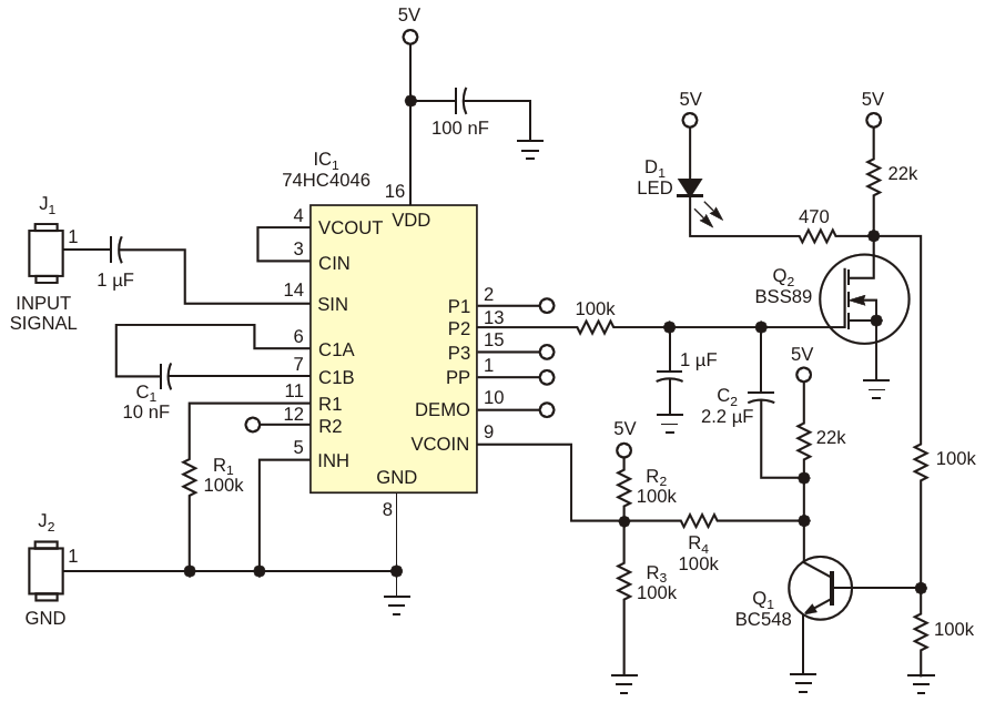 This analog frequency comparator uses an LED to indicate upper and lower frequency limits