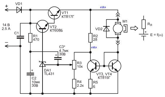Принципиальная схема регулятора частоты вращения вала мини дрели