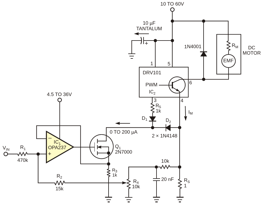 Positive feedback derived from current-sense resistor R sub S /sub  increases the duty-cycledrive from PWM controller IC sub 2 /sub  to compensate motor speed with varying loads