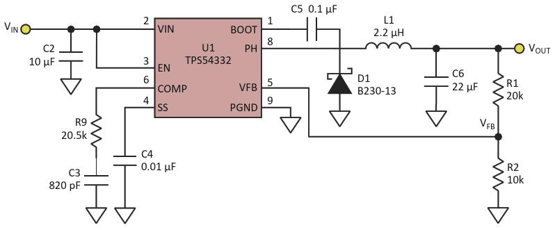 Выходное напряжение обычного понижающего DC/DC преобразователя фиксировано и зависит от отношения сопротивлений резисторов делителя R1/R2