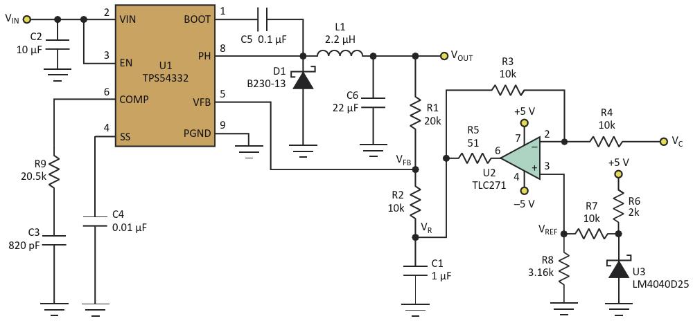 Дополнительная схема в этой версии DC/DC преобразователя позволяетуправлять V sub OUT /sub  путем изменения напряжения V sub C /sub