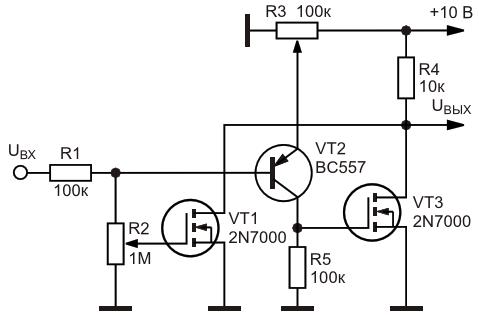 Электрическая схема оконного транзисторного ключа