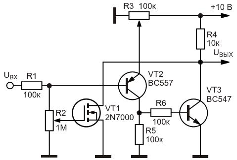 Вариант оконного транзисторного ключа сминимальным порогом переключения