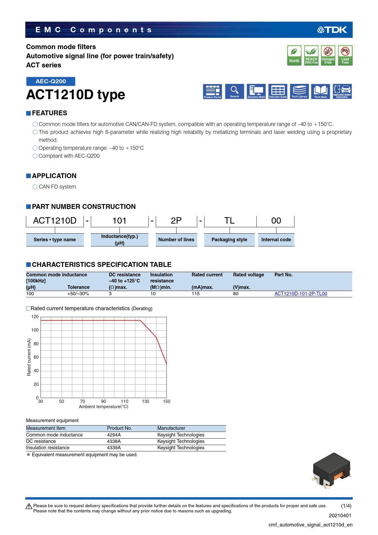 Datasheet ACT1210D TDK