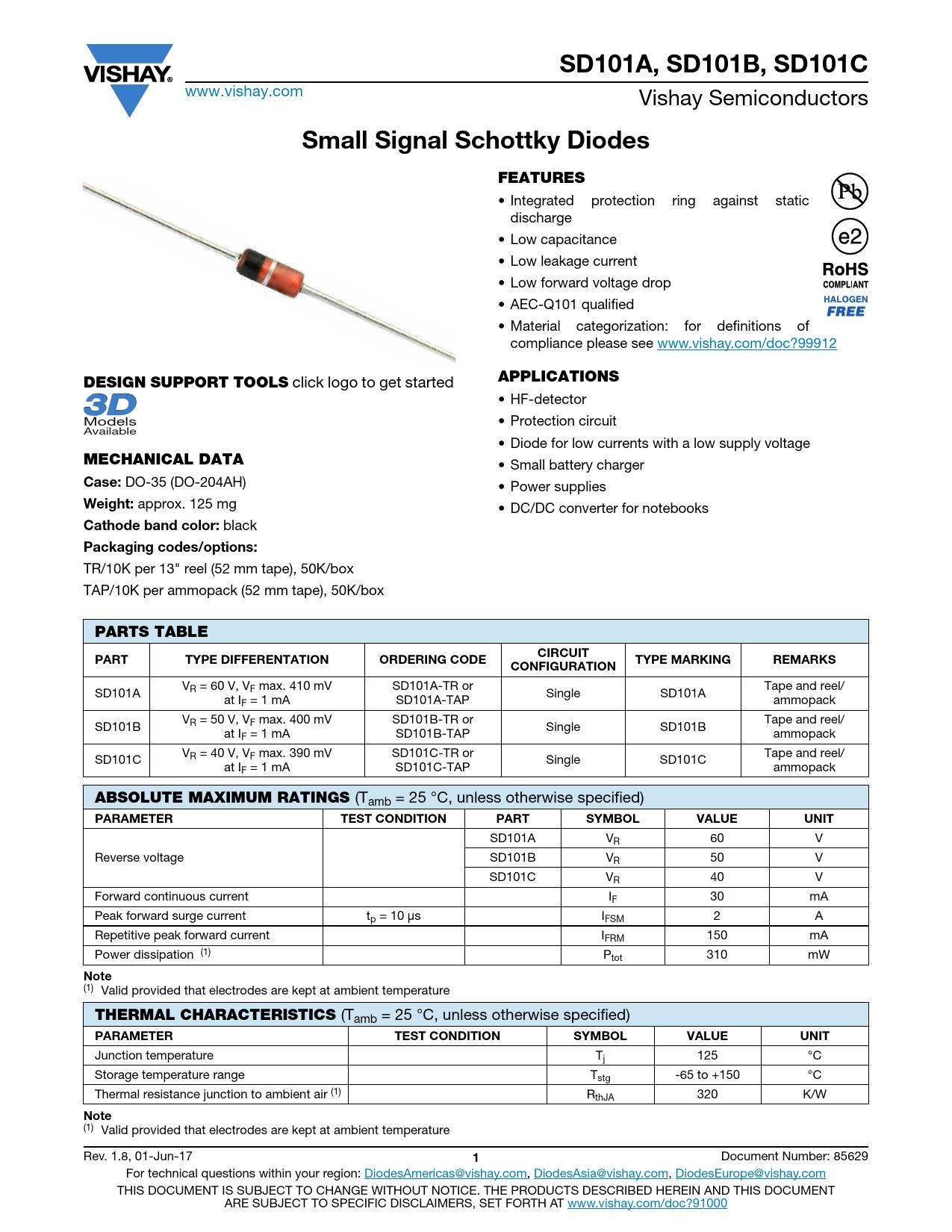 Datasheet SD101A Vishay