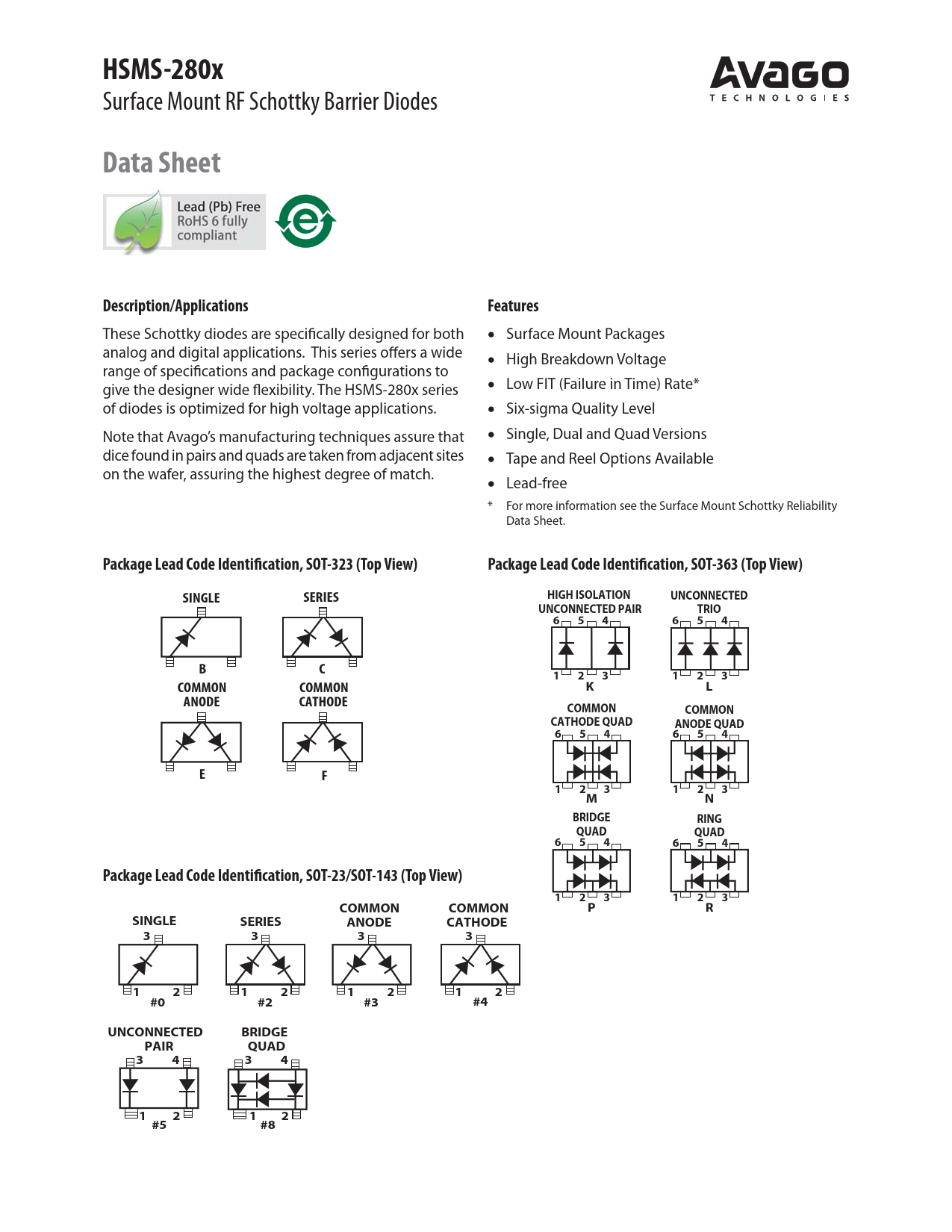 Datasheet HSMS-2800 Avago Technologies
