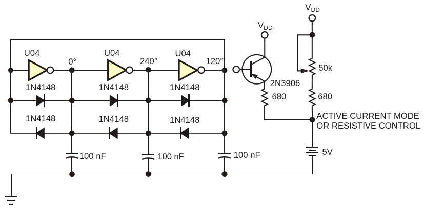 A ring-type oscillator generates 3-phase outputs over a wide frequency range