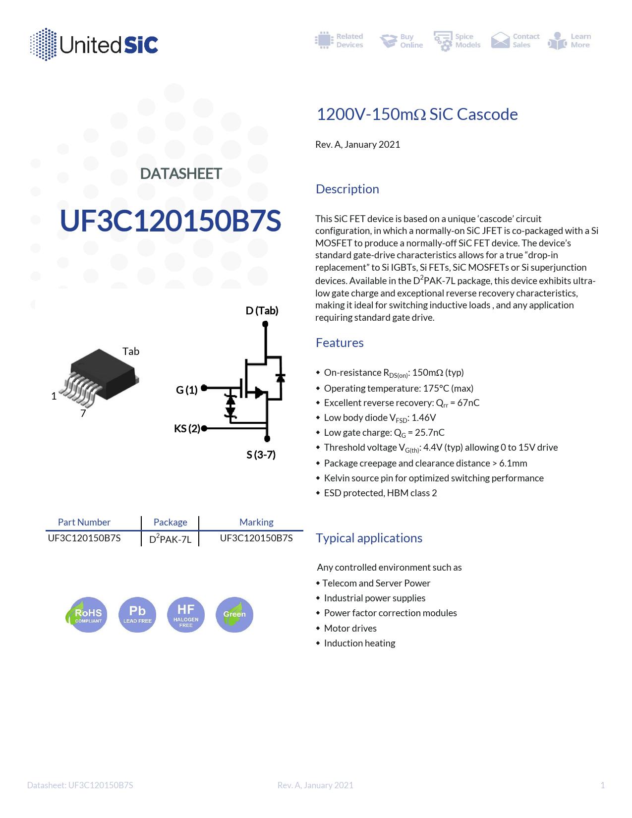 Datasheet UF3C120150B7S UnitedSiC
