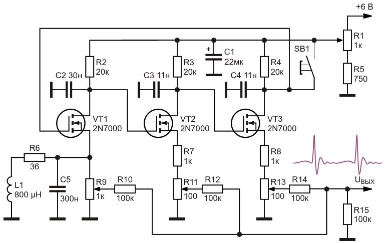 Электрическая схема эмулятора сигналов кардиографа
