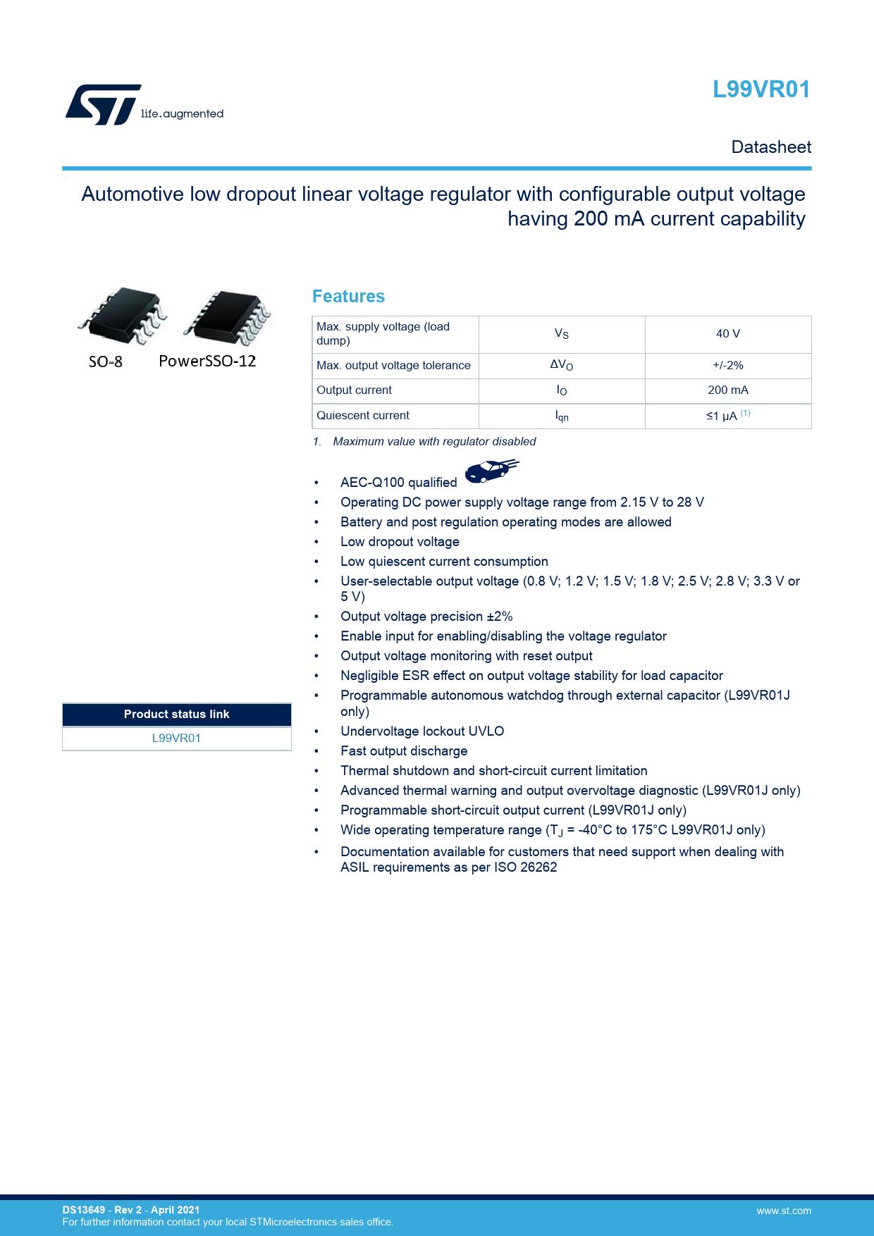 Datasheet L99VR01 STMicroelectronics