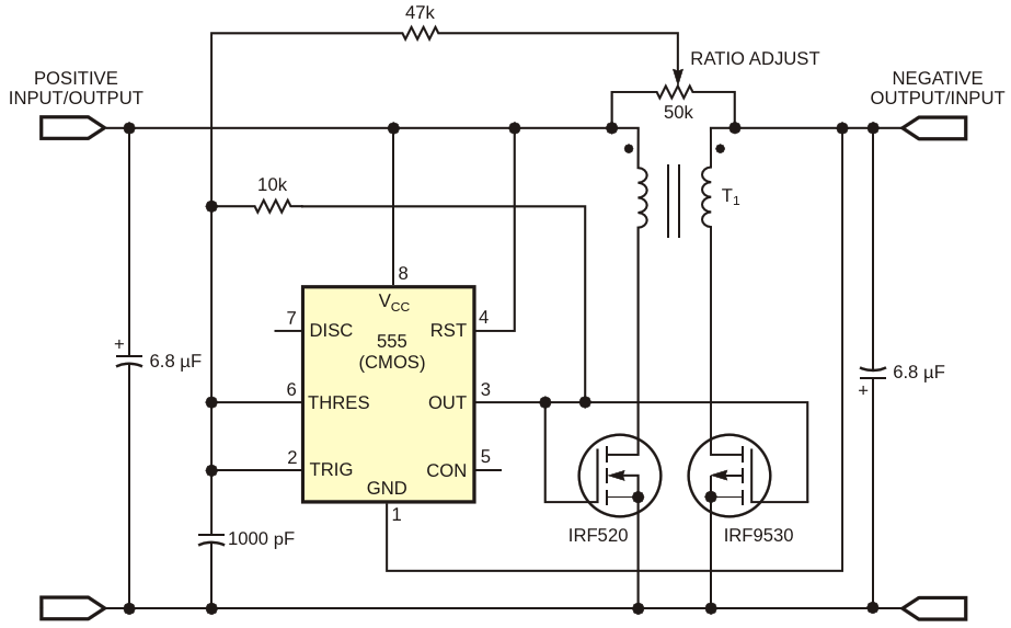 An inverter circuit swaps charges between opposite-polarity batteries