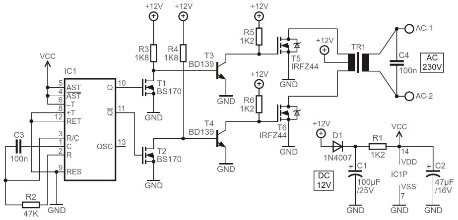 Принципиальная схема портативного инверторного преобразователя