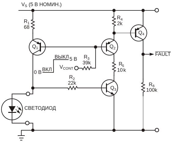 Этот драйвер светодиода дополнительно выполняет функции контроля неисправностей и ограничения тока короткого замыкания