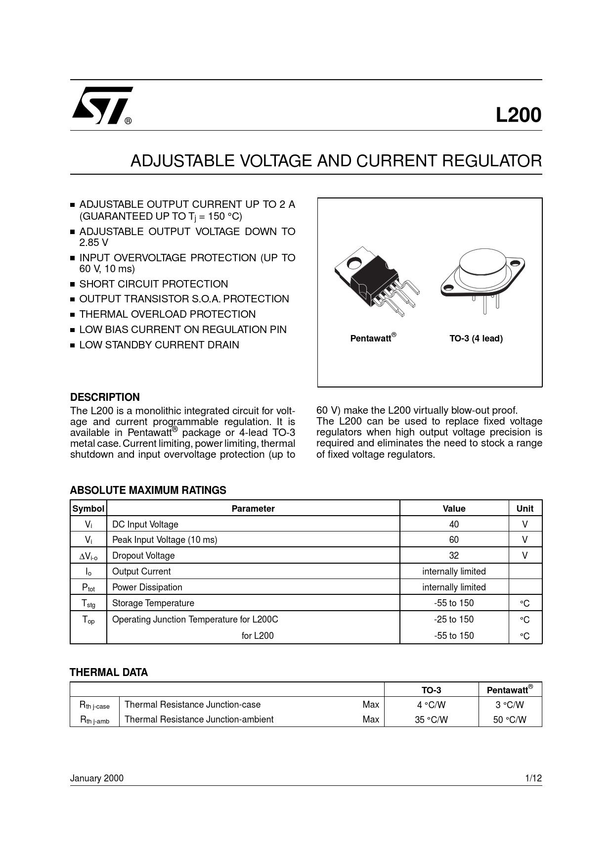 Datasheet L200 STMicroelectronics