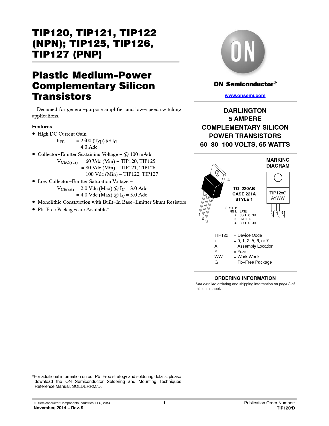Datasheet TIP120, TIP121, TIP122 (NPN); TIP125, TIP126, TIP127 (PNP) ON Semiconductor, Версия: 9