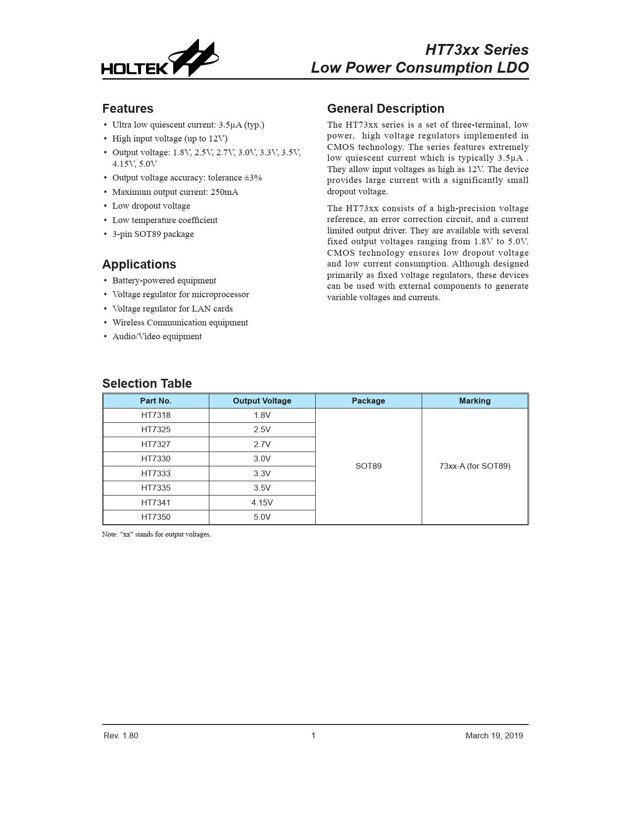 Datasheet HT73xx Holtek