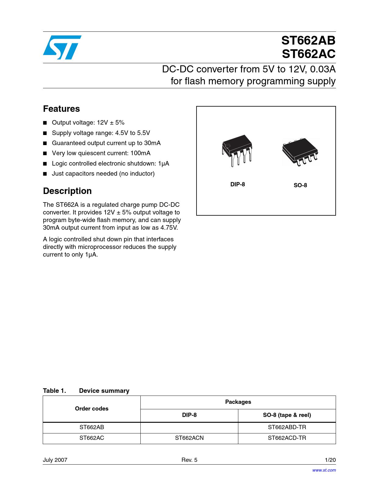 Datasheet ST662AB STMicroelectronics