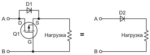 Эта схема защищает нагрузку от переполюсовки батареис помощью p-канального MOSFET