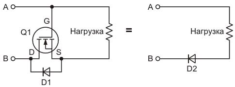 Эта схема защищает нагрузку от переполюсовки батареис помощью n-канального MOSFET