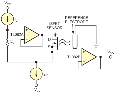 This circuit is a classic configuration for biasing ISFET sensors