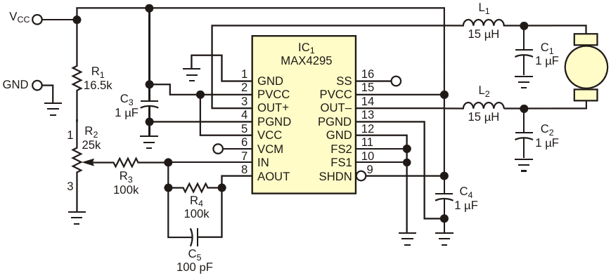 A Class D audio amplifier, IC sub 1 /sub , helps implement this simple motor-speed controller