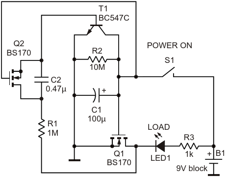 The circuit diagram of the auto power-off timer circuit