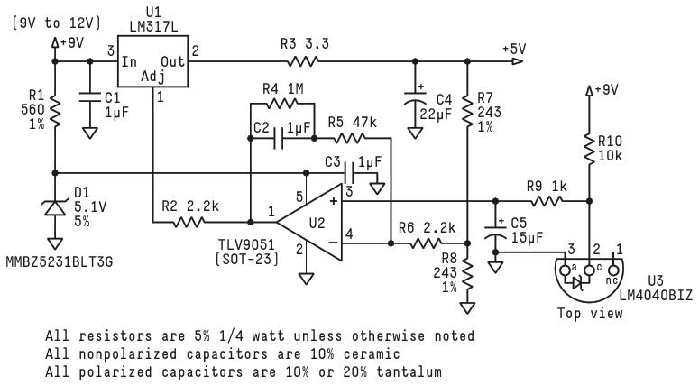 This power supply circuit is designed around an LM317L voltage regulator