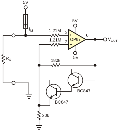 The addition of two diodes in the feedback loop prevents excessive input current in the OP97