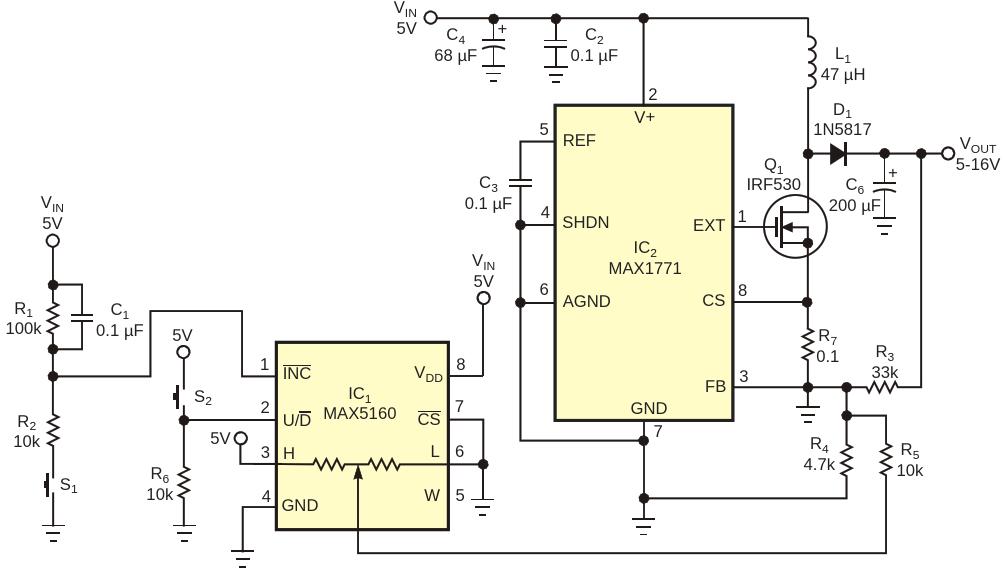 Цифровой потенциометр IC sub 1  /sub и две кнопки S sub 1 /sub  и S sub 2 /sub  позволяют регулировать выходное напряжение повышающего преобразователя IC sub 2 /sub  в диапазоне 10 В