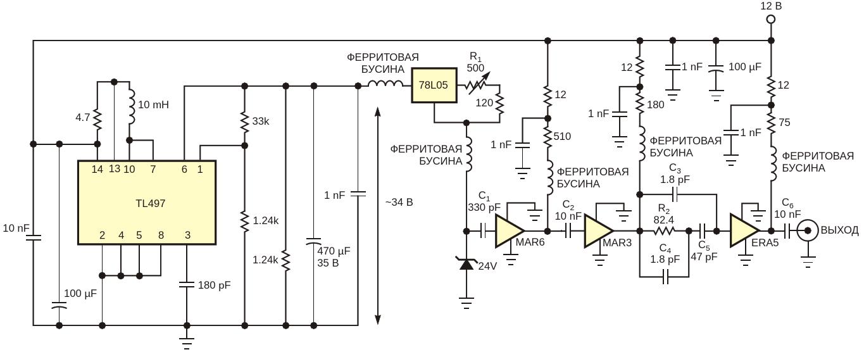 24-вольтовый стабилитрон и цепочка СВЧ усилителей образуют широкополосный источник шума