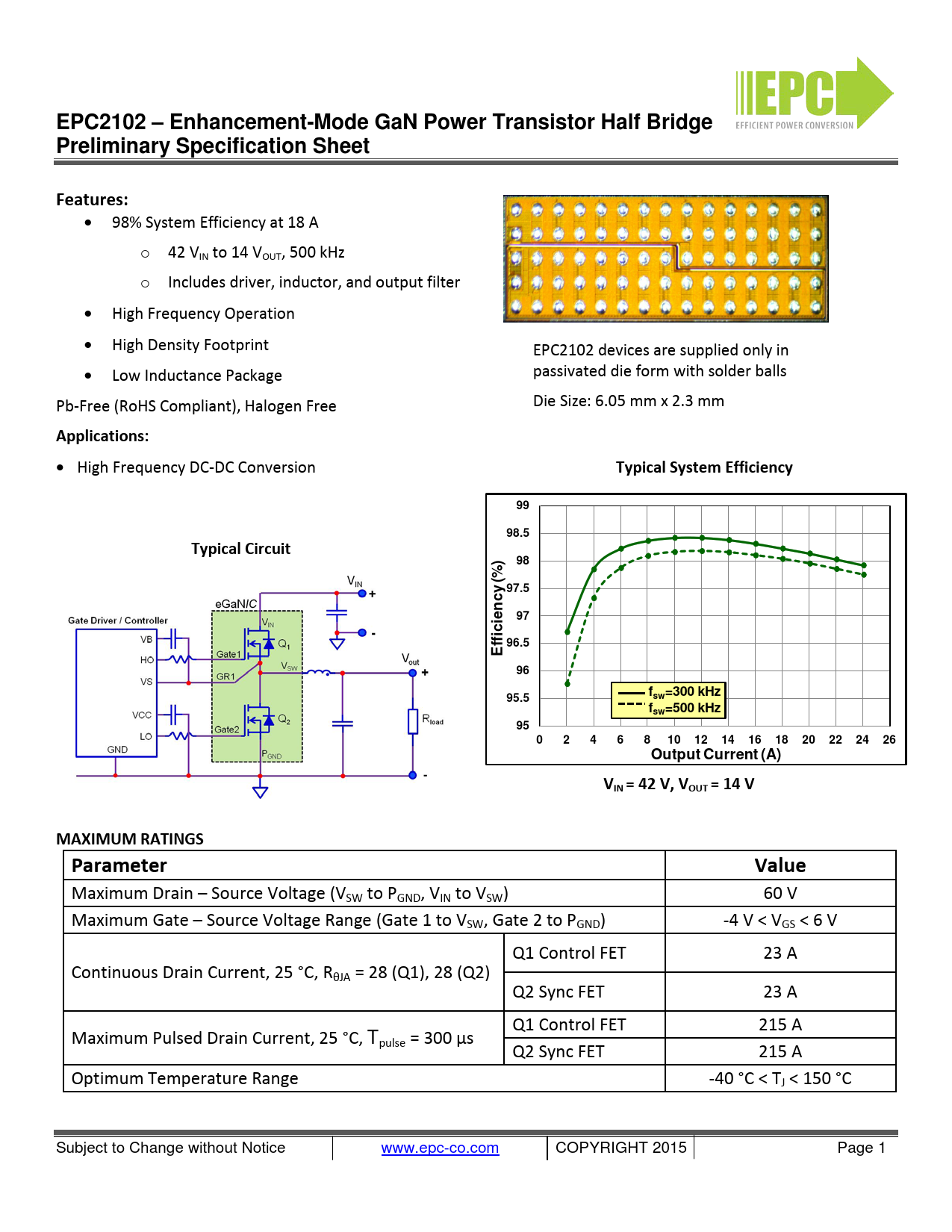 Preliminary Datasheet EPC2102 Efficient Power Conversion
