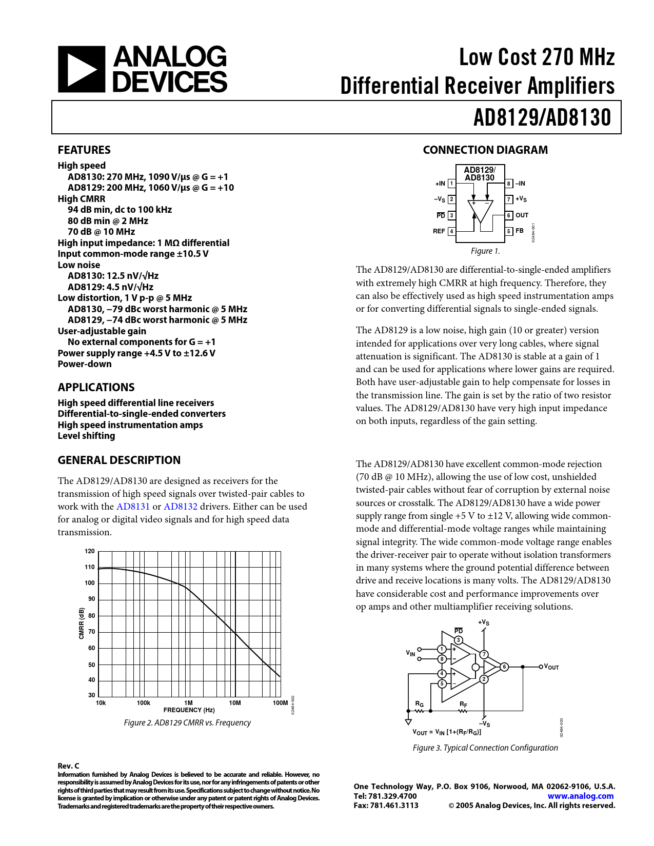 Datasheet AD8129, AD8130 Analog Devices, Версия: C
