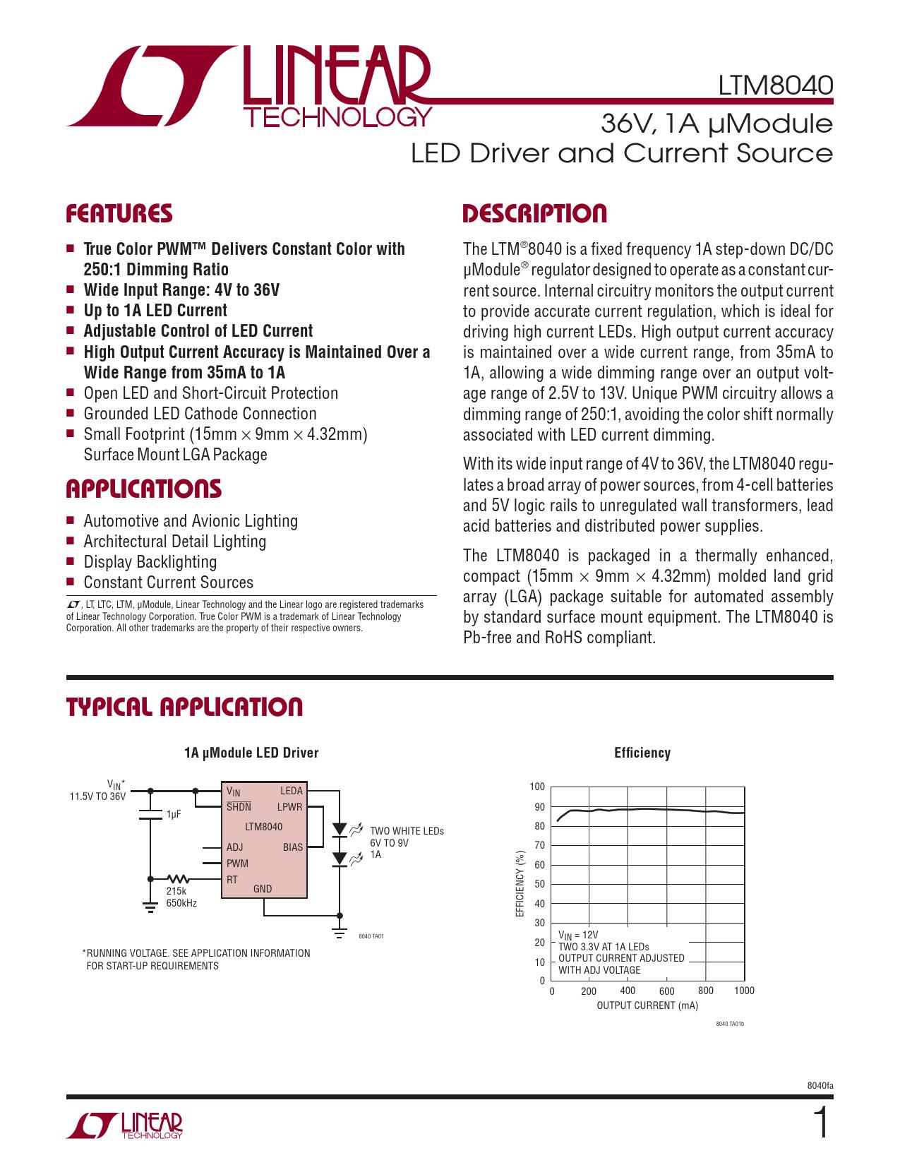Datasheet LTM8040 Analog Devices